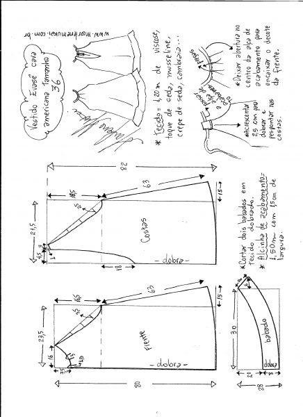 Esquema de modelagem de Vestido cava americana evasê tamanho 36.
