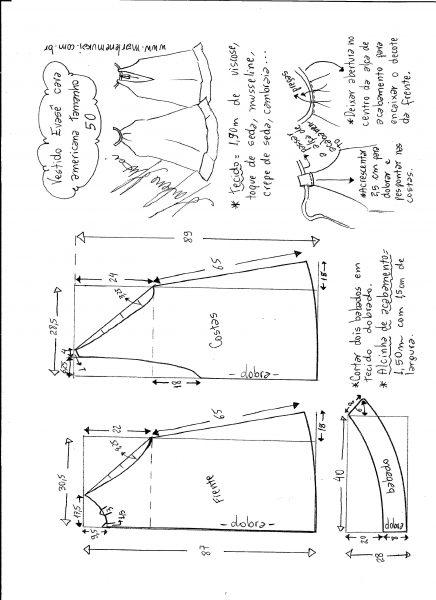 Esquema de modelagem de Vestido cava americana evasê tamanho 50.