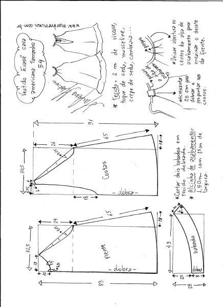 Esquema de modelagem de Vestido cava americana evasê tamanho 54.