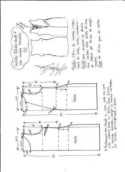 Esquema de modelagem de vestido tubinho com decote nas costas tamanho 50.