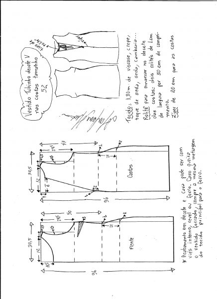 Esquema de modelagem de vestido tubinho com decote nas costas tamanho 52.