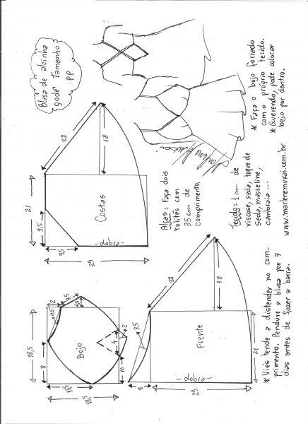 Esquema de modelagem de blusa de alcinha godê tamanho PP.