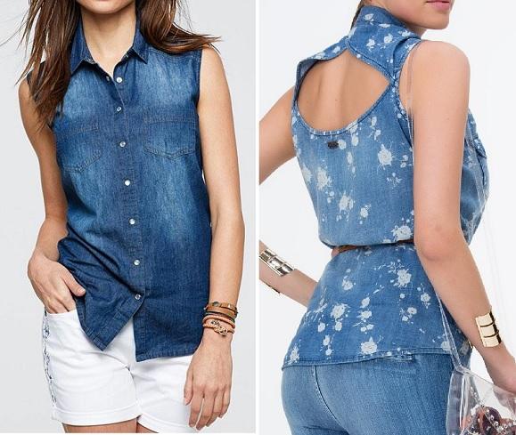 Esquema de modelagem de camisa sem manga com colarinho e detalhe nas costas do 36 ao 56.