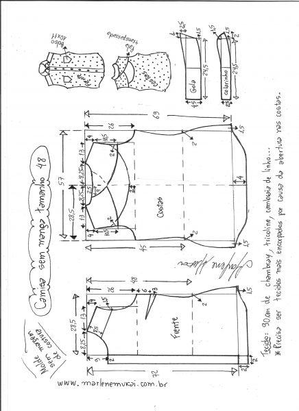 Esquema de modelagem de camisa sem manga com abertura nas costas tamanho 48.