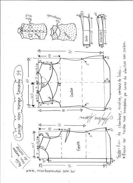 Esquema de modelagem de camisa sem manga com abertura nas costas tamanho 54