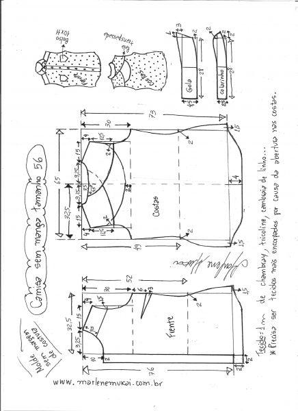 Esquema de modelagem de camisa sem manga com abertura nas costas tamanho 56.