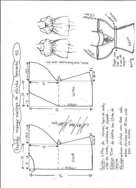Esquema de modelagem de vestido de alcinha com manga morcego tamanho 40.