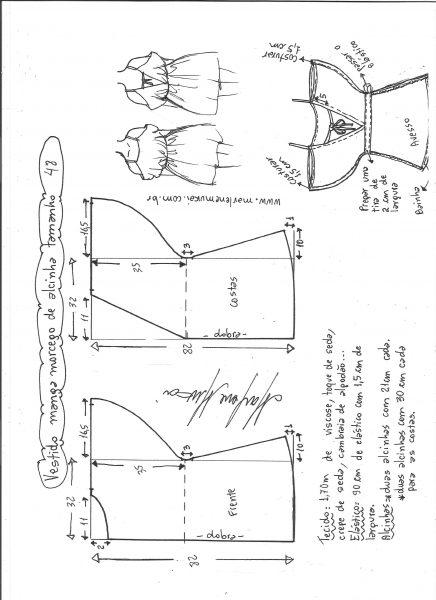 Esquema de modelagem de vestido de alcinha com manga morcego tamanho 48.