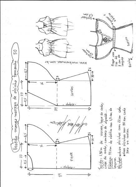 Esquema de modelagem de vestido de alcinha com manga morcego tamanho 50.