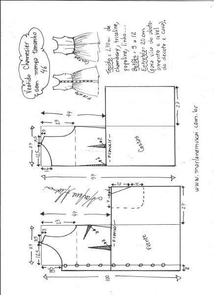 Esquema de modelagem de vestido chamisier tamanho 46.