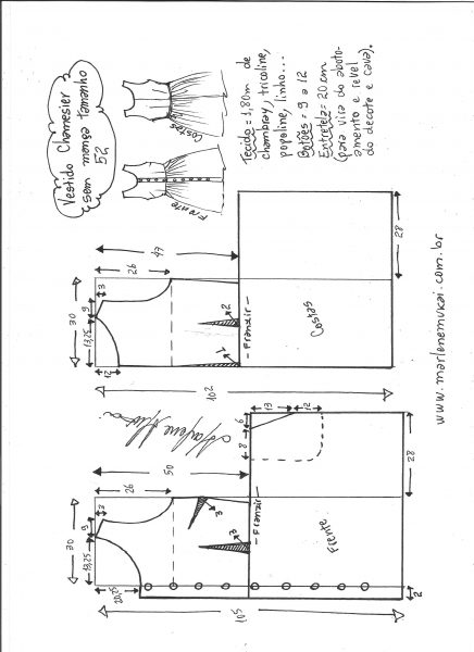 Esquema de modelagem de vestido chamisier tamanho 52.