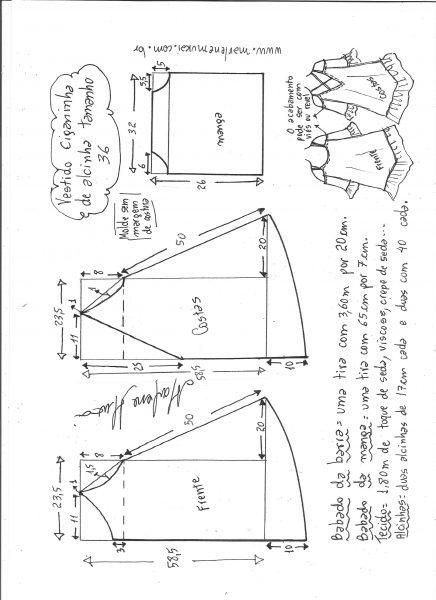 Esquema de modelagem de vestido ciganinha de alcinha tamanho 36.