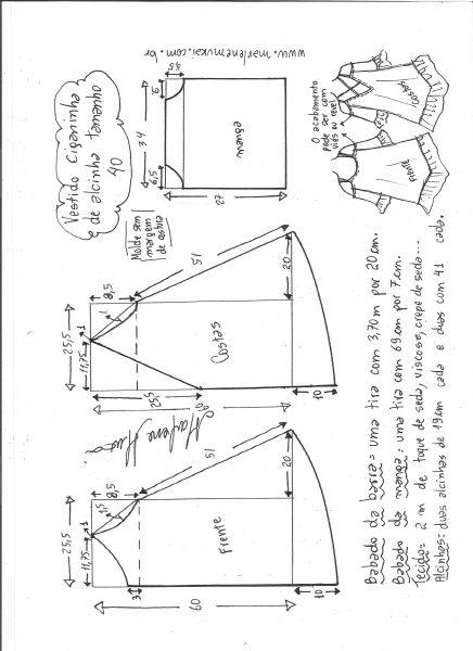 Esquema de modelagem de vestido ciganinha de alcinha tamanho 40.