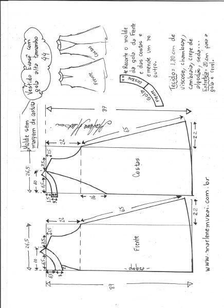 Esquema de modelagem de vestido evasê com gola alta tamanho 44.