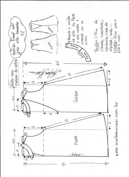 Esquema de modelagem de vestido evasê com gola alta tamanho 52.