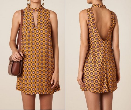 """Esquema de modelagem de vestido evasê com gola alta e decote """"V"""" frente e costas do 36 ao 56."""