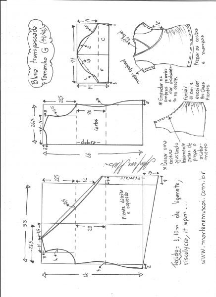 Esquema de modelagem de blusa transpassada de malha tamanho G.