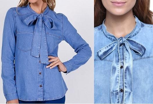 Esquema de modelagem de camisa feminina com laço e decote redondo do 36 ao 56.