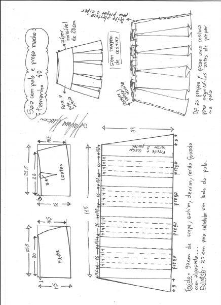 Esquema de modelagem de saia com pala e pregas macho tamanho 40.