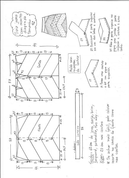 Esquema de modelagem de saia jeans com recortes tamanho 42.