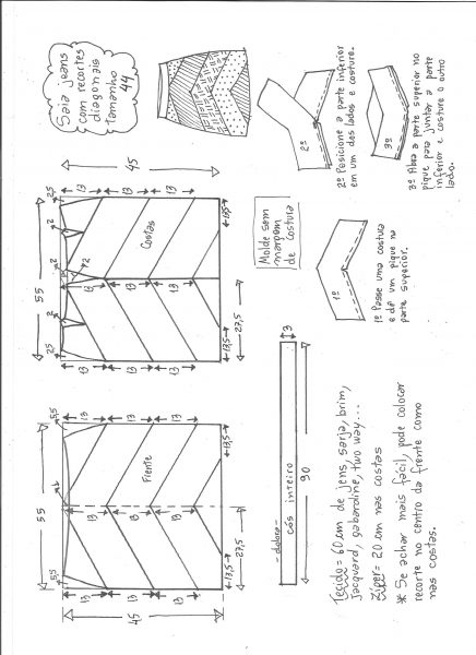 Esquema de modelagem de saia jeans com recortes tamanho 44.