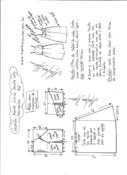 Esquema de modelagem de vestido frente única e decote reto tamanho 42.
