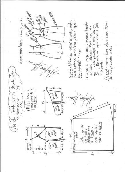 Esquema de modelagem de vestido frente única e decote reto tamanho 44.
