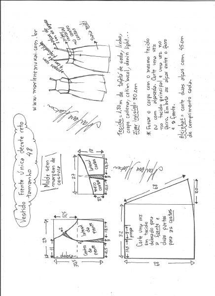 Esquema de modelagem de vestido frente única e decote reto tamanho 48.