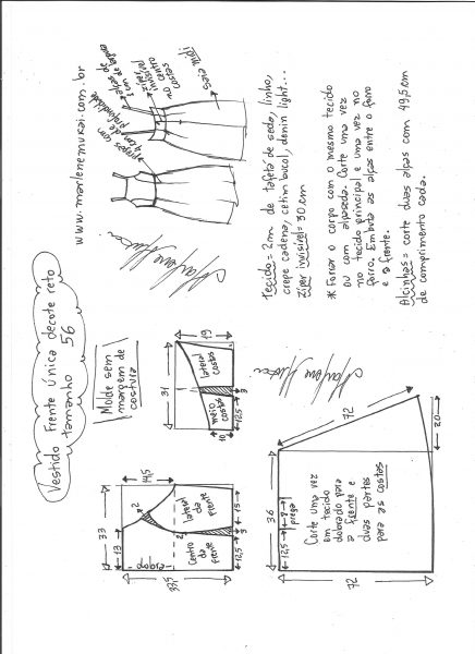 Esquema de modelagem de vestido frente única e decote reto tamanho 56.