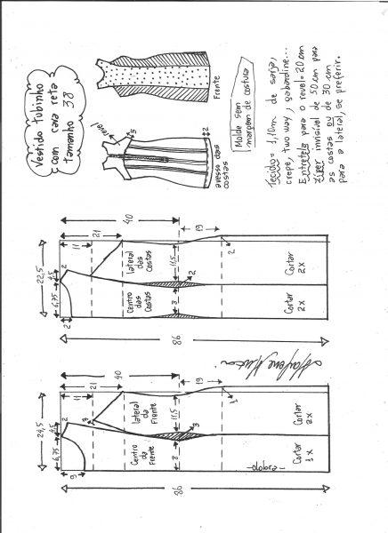 Esquema de modelagem de vestido tubinho cava reta tamanho 38.