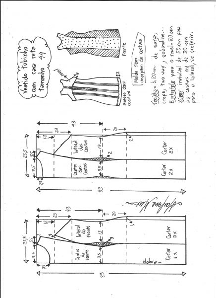 Esquema de modelagem de vestido tubinho cava reta tamanho 44.