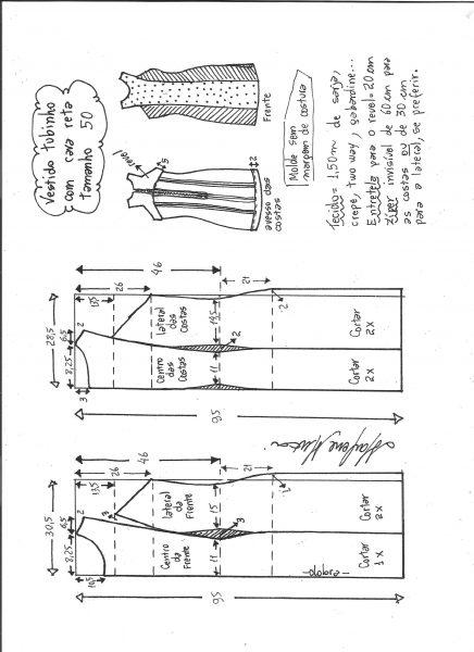Esquema de modelagem de vestido tubinho cava reta tamanho 50.