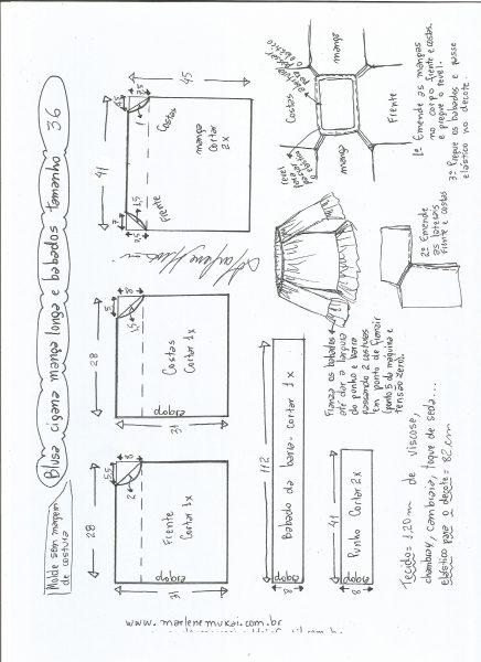 Esquema de modelagem de blusa ciganinha babados tamanho 36