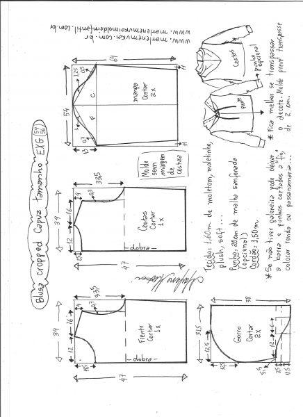 Esquema de modelagem de blusa cropped com capuz tamanho EXG.