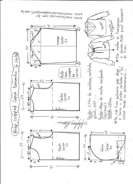 Esquema de modelagem de blusa cropped com capuz tamanho G.