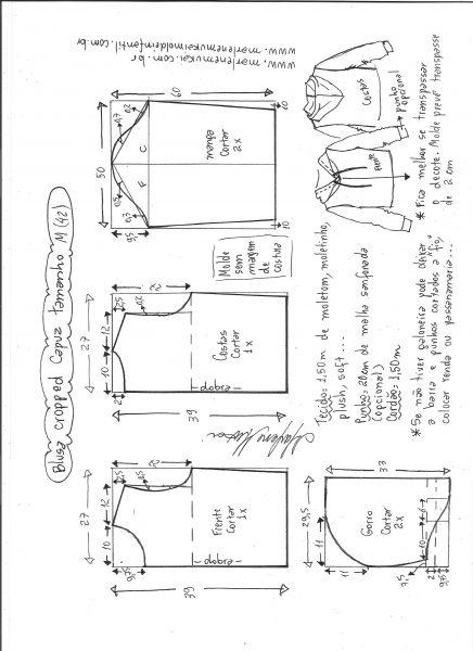 Esquema de modelagem de blusa cropped com capuz tamanho M.