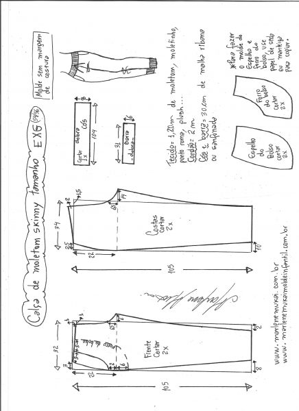 Esquema de modelagem de calça de moletom skinny EXG.