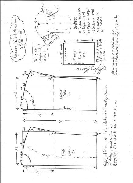 Esquema de modelagem de casaco sobretudo fácil G.