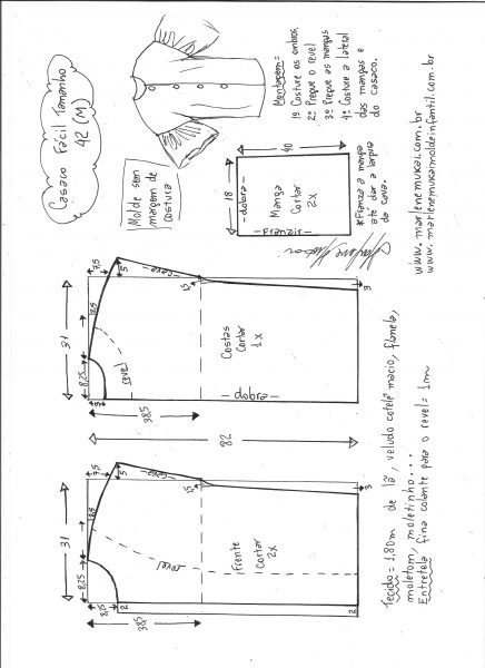 Esquema de modelagem de casaco sobretudo fácil M.