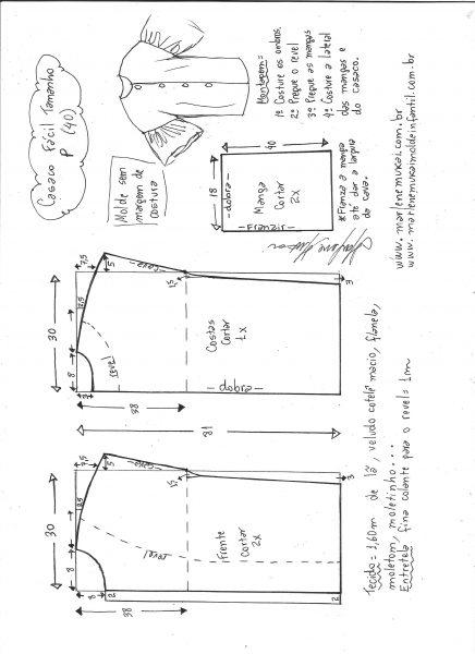 Esquema de modelagem de casaco sobretudo fácil P.