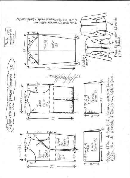 Esquema de modelagem de casaqueto com pregas tamanho 50.