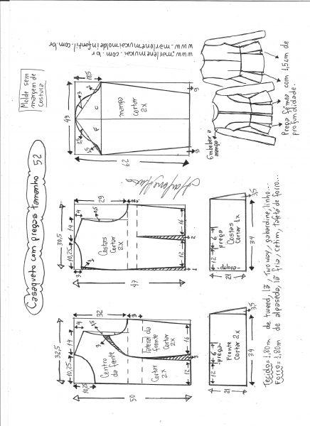 Esquema de modelagem de casaqueto com pregas tamanho 52.