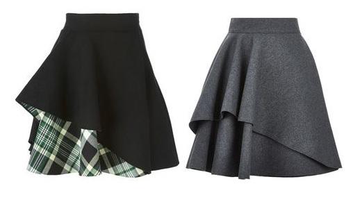 Esquema de modelagem de saia godê com sobreposição do 36 ao 56.
