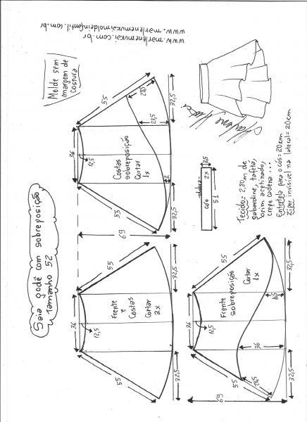 Esquema de modelagem de saia godê com sobreposição tamanho 52.