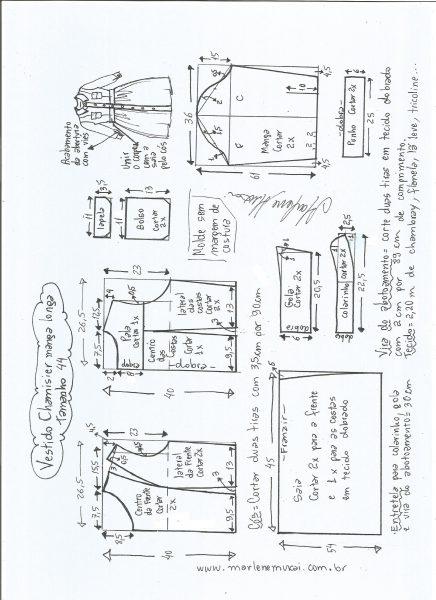Esquema de modelagem  vestido chamesier manga longa saia franzida tamanho 44.