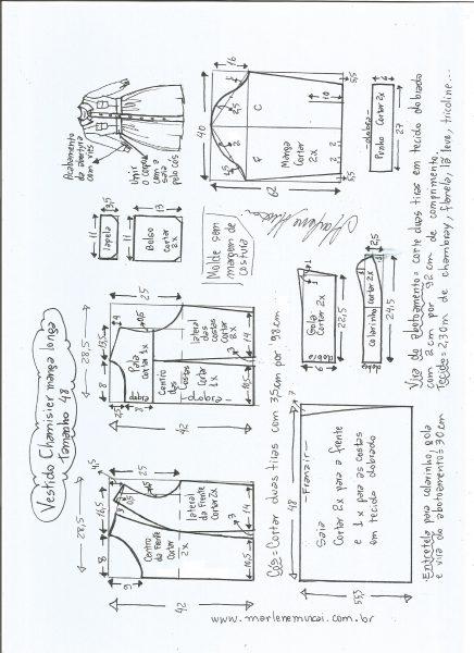 Esquema de modelagem  vestido chamesier manga longa saia franzida tamanho 48.