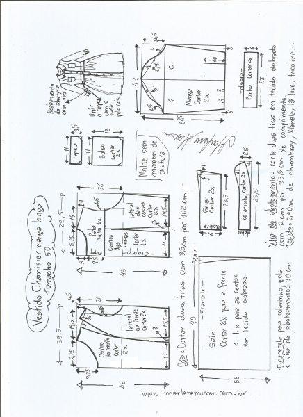 Esquema de modelagem  vestido chamesier manga longa saia franzida tamanho 50.