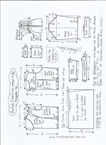 Esquema de modelagem  vestido chamesier manga longa saia franzida tamanho 56.