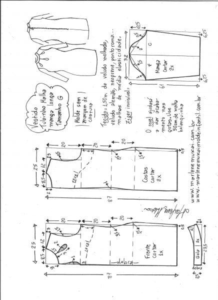Esquema de modelagem de vestido tubinho malha manga longa tamanho G.